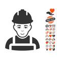 builder icon with love bonus vector image