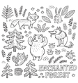 Hand drawn set with animals in outline vector image