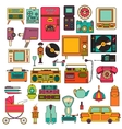 set of color vintage flat electronic icons 80-90s vector image