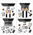Set of modern business office workspaces vector image