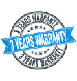 3 years warranty blue round grunge vintage ribbon vector image vector image