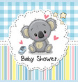 baby shower greeting card with cartoon koala vector image vector image