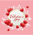 banner with hearts and paper flowers vector image vector image