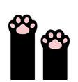 black cat paw print set kitten kitty leg foot vector image vector image