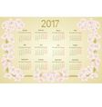 Calendar 2017 with apple tree blossoms vintage vector image