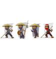 cartoon masked ninja warriors character set vector image vector image