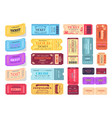 collection colorful tickets vector image vector image
