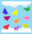 color paper plane stickers with shadows vector image vector image