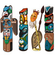 colorful totems with faces people and birds vector image