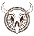cow skull on a wheel wild west outline drawing vector image vector image
