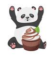 cute panda with chocolate cupcake vector image