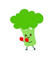 cute smiling strong broccoli fighting vector image