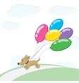 Dog and balloons vector image