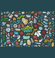 doodle cartoon set coronavirus theme objects vector image