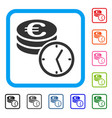 euro coins and time framed icon vector image vector image