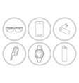 Every day carry detailed linear icons set vector image vector image