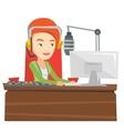 Female dj working on the radio vector image vector image