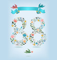 floral number eighty eight with ribbon and birds vector image vector image