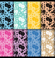 floral seamless patterns colored set vector image