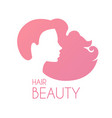 hair care logo design female silhouette with long vector image