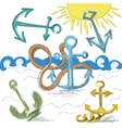 Hand drawn anchors vector image vector image