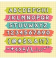 hand drawn font on squared paper sheet vector image vector image
