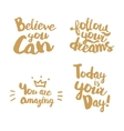Hand lettering with gold color vector image