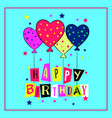 happy birthday card with doodle hand drawn vector image