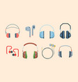 headphones set stylish headset listening audio vector image