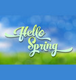 hello spring blue-green stylized inscription vector image vector image