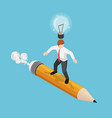 isometric businessman surfing on pencil with vector image vector image