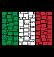 italy flag collage of filled rectange icons vector image vector image