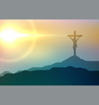 jesus christ crucifixion scene for good friday vector image vector image