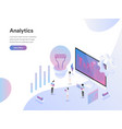 landing page template data analysis isometric vector image