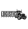 monochrome template with a truck for long-distance vector image