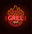 neon sign of grill bar vector image vector image