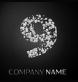 number nine logo silver dots alphabet logotype vector image