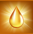oil drop gold transparent liquid organic water or vector image vector image