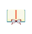 open book and glasses on white background vector image vector image