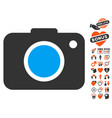 photo camera icon with dating bonus vector image