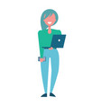 pretty woman with laptop in hands in green blouse vector image