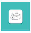 round button for briefcase business case open vector image