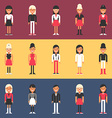 set flat design people characters female vector image