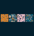 set folk floral seamless patterns modern vector image