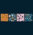 set folk floral seamless patterns modern vector image