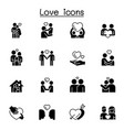 set love icons contains such icons as hug vector image vector image