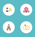 set of marriage icons flat style symbols with vector image