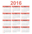 Simple calendar 2016 Week starts on Sunday vector image vector image