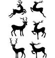 Six deer silhouettes vector image