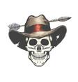 skull in arrow shot cowboy hat tattoo vector image